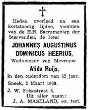 Overlijdensbericht J.A.D. Heerius