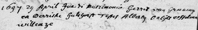 1697 huwelijk Gerrit van Groeningen