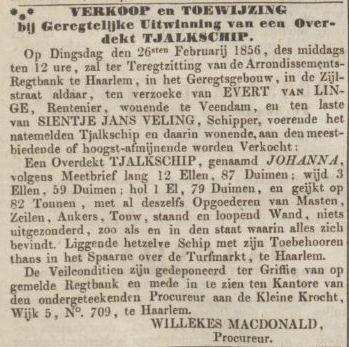 18560131 Opregte Haarlemsche Courant - veiling schip