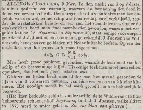 Vergaan Neptunus beschreven in het Nieuw Amsterdamsch handels- en effectenblad, 17-11-1858