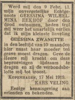 overlijdensannonce G.Z. Veling