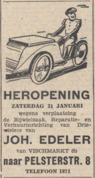 Advertentie firma Joh. Edeler (Nieuwsblad van het Noorden 29-01-1942)